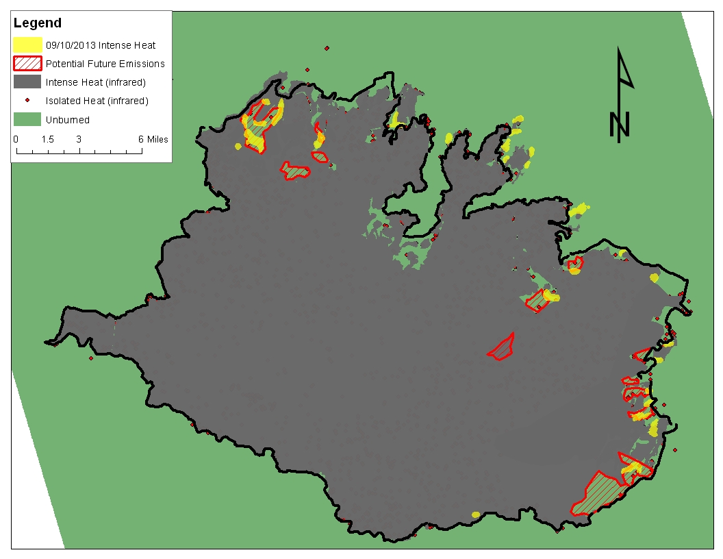 figure 1 rim fire operations map for 9 10 2013 showing spot fires in div p and z and continued spread in div m