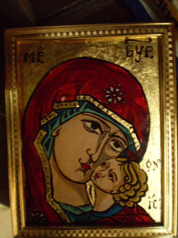Icon painting on glass, detail2