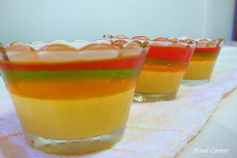 Rainbow jelly mango pudding