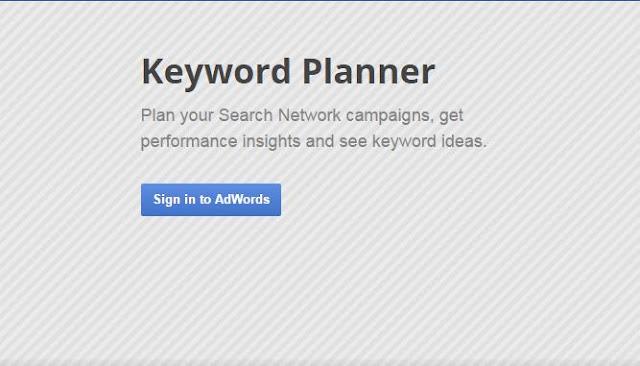 keyword planner tool signin page