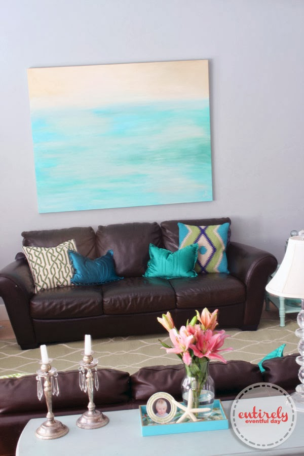 Pretty green and blue living room design. www.entirelyeventfulday.com #interiordesign