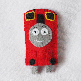 James felt finger puppet handmade by Joanne Rich for her friends daughter.