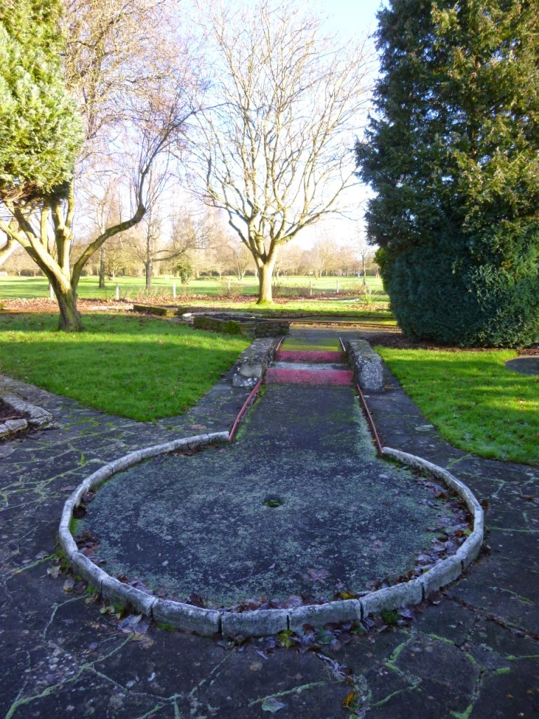One of the tricky minigolf holes at the Abbey Meadows Crazy Golf course in Abingdon-on-Thames