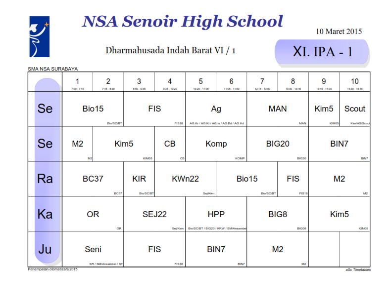 Jadwal Pelajaran Berlaku Mulai 10 Maret 2015kelas Xi Ipa 1