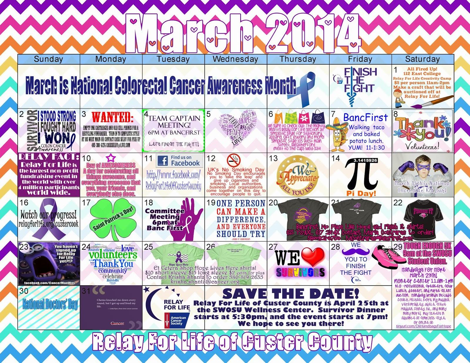 Calendar Raffle Ideas : Cassi selby relay for life fundraising and event calendar