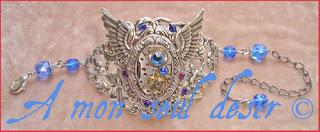 bracelet steampunk mécanisme mouvement de montre mécanique ailes strass Swarovski