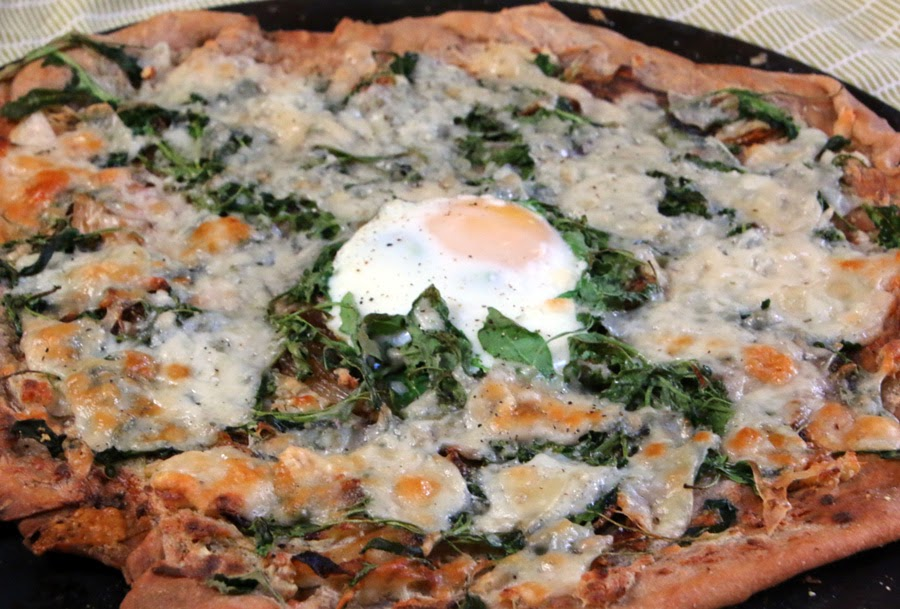 Lemony Arugula and Egg Pizza