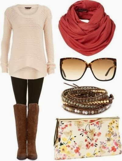 Stylish red scarf, sweater, black leggings, brown longs boots and hand bag