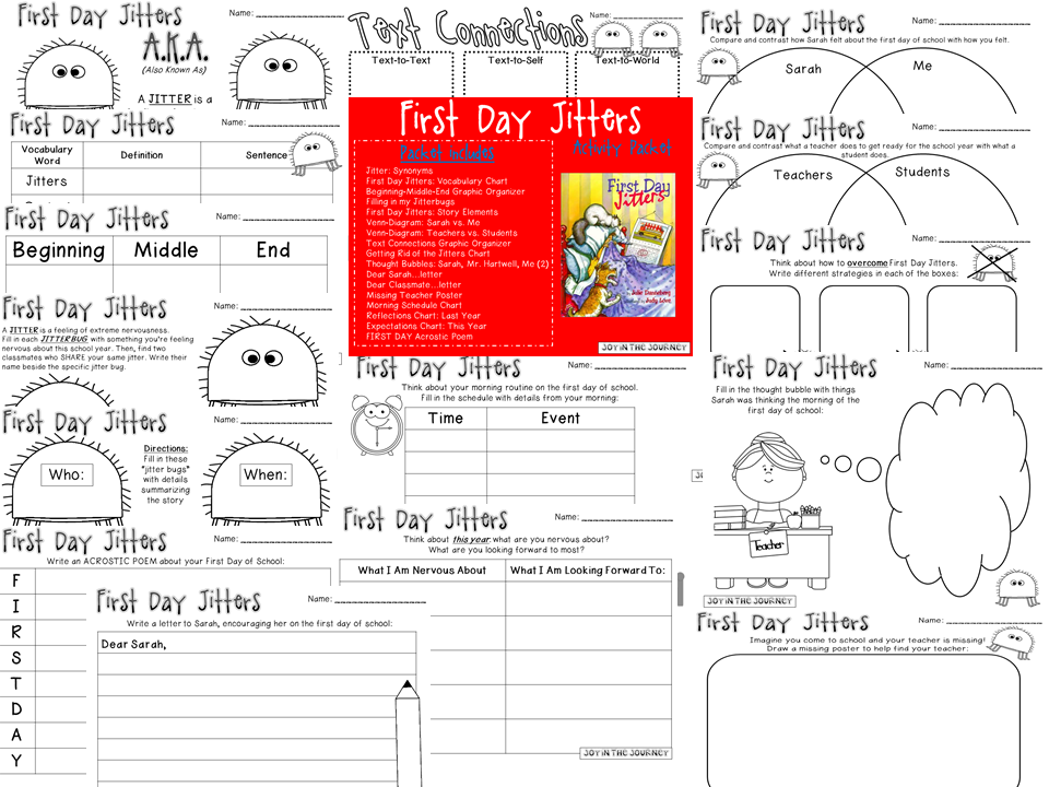 Summer Share Prepare First Day Jitters Joy in the Journey – First Day Jitters Worksheets