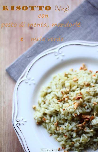 risotto (veg) con pesto di menta, mandorle e mela verde