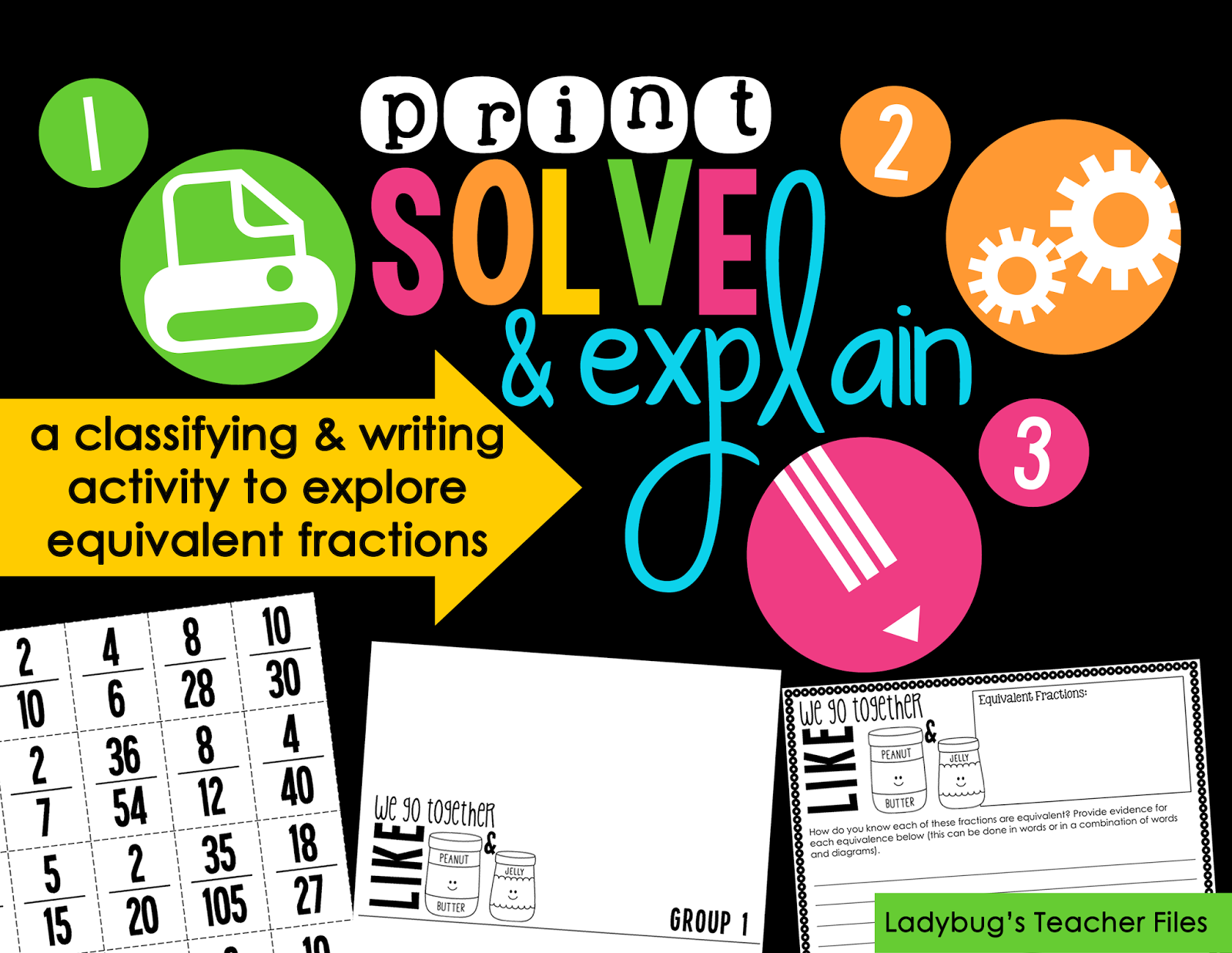 http://www.teacherspayteachers.com/Product/Print-Solve-Explain-Equivalent-Fractions-1117234