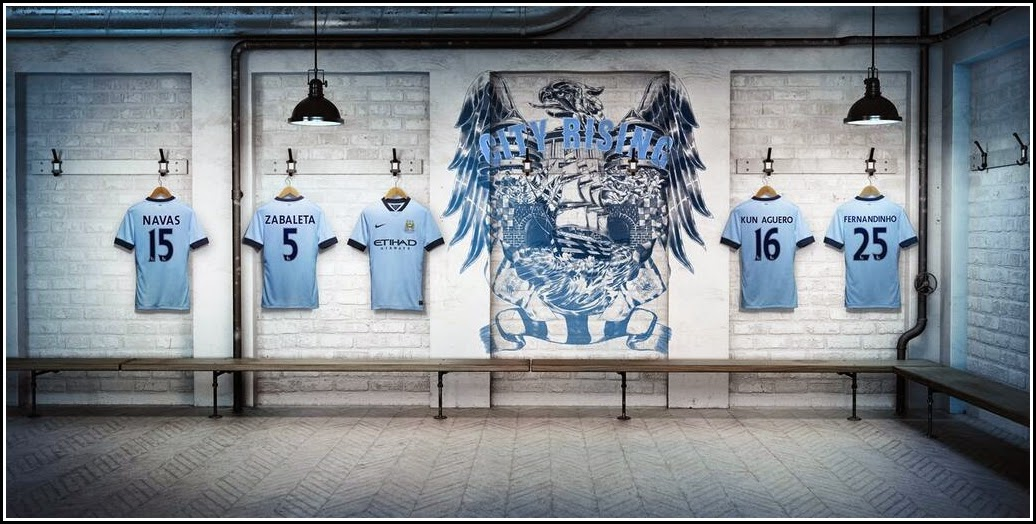 Jersey Bola Manchester City Home 2014-2015 Resmi