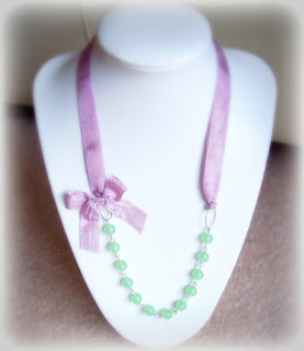 chrysoprase margarita necklace semiprecious stone lilac ribbon