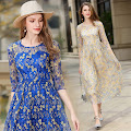 New 2017 Blue/Cream Gold Floral Embroidery Lace Past Knee Length Dress
