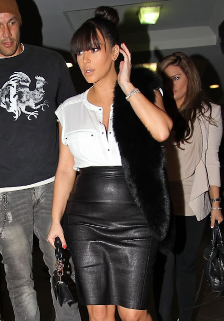 pregnant Kim in Black Leather Skirt