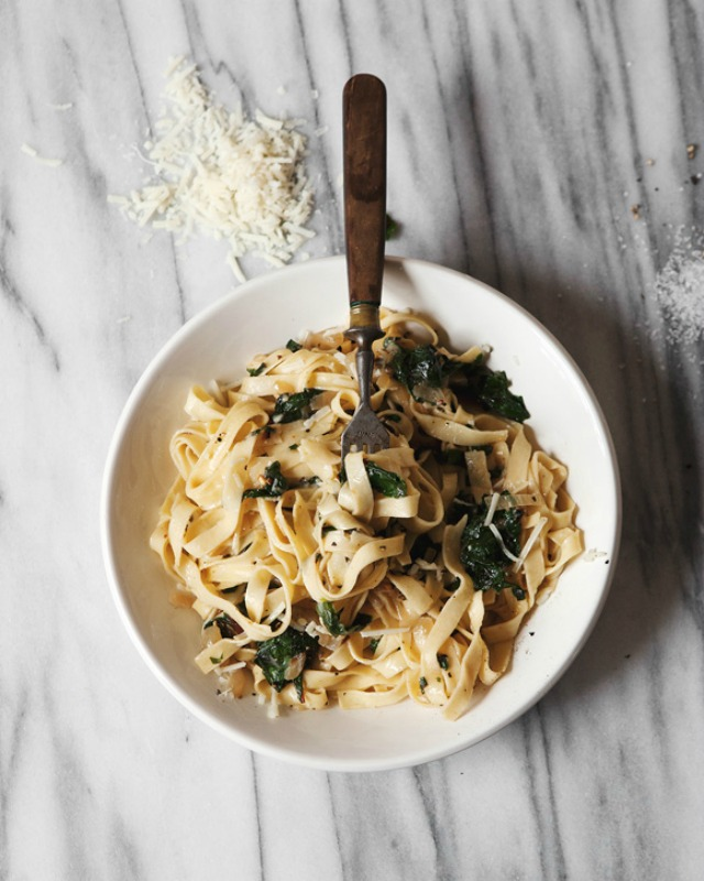 Fettuccine with Caramelized Onions and Swiss Chard