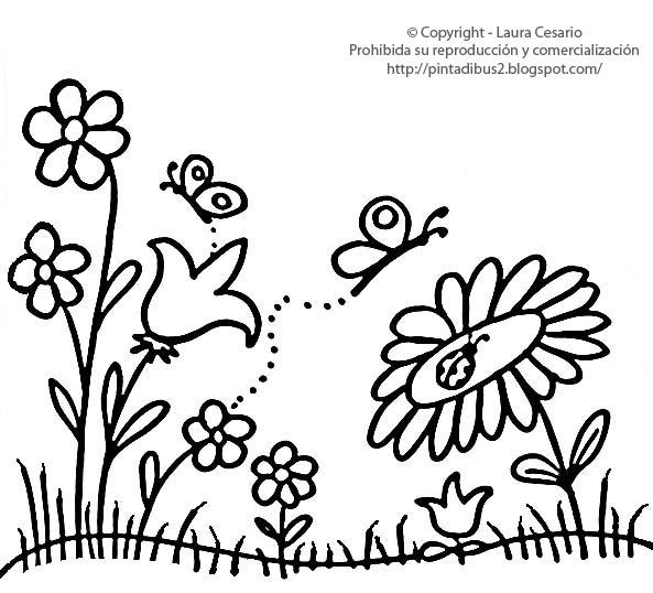 Dibujos para imprimir y colorear – Pinta Dibus: Dibujo de flores ...