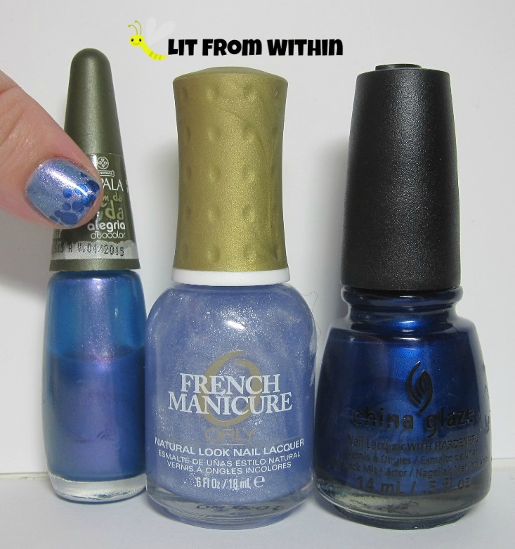 Bottle shot:  Impala Trem De Vida Alegria, Orly Etoile, and China Glaze Scandalous Shenanigans.