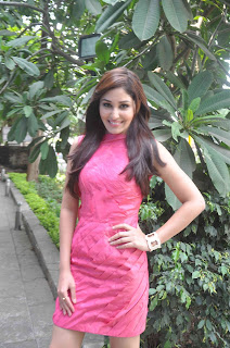 Actress Pooja Chopra Pictures in Pink Short Dress at Reliance Office 0001