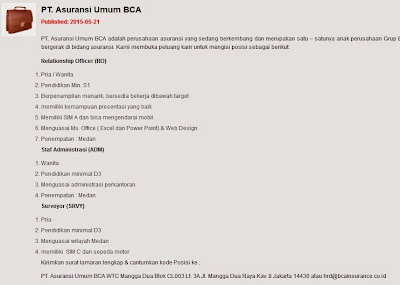 Lowongan kerja resmi PT. Asuransi Umum BCA