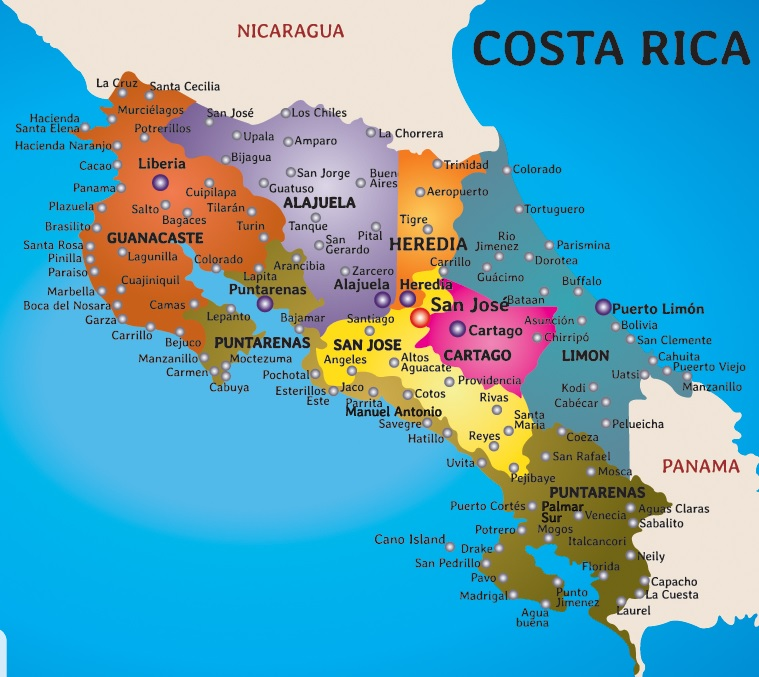 Detailed Map Of Costa Rica MAP - Costa rica detailed map