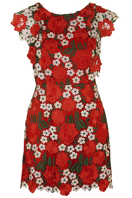 red flower appliqué dress, red floral dress, topshop red floral dress,