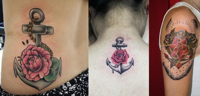 Tatuagem de Ancora e Rosa