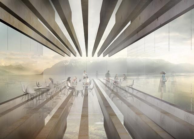 Interior of a single story futuristic museum
