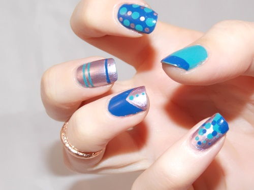 nail art dots stripes blue silver essie blog beauté psychosexy