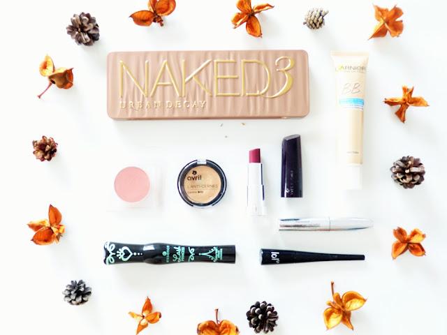 maquillage d'automne Make up Naked 3 Urban Decay Essence Lash Princess BYS maquillage Avril beauté Yves rocher RAL rouge à lèvres Blush Nocibé