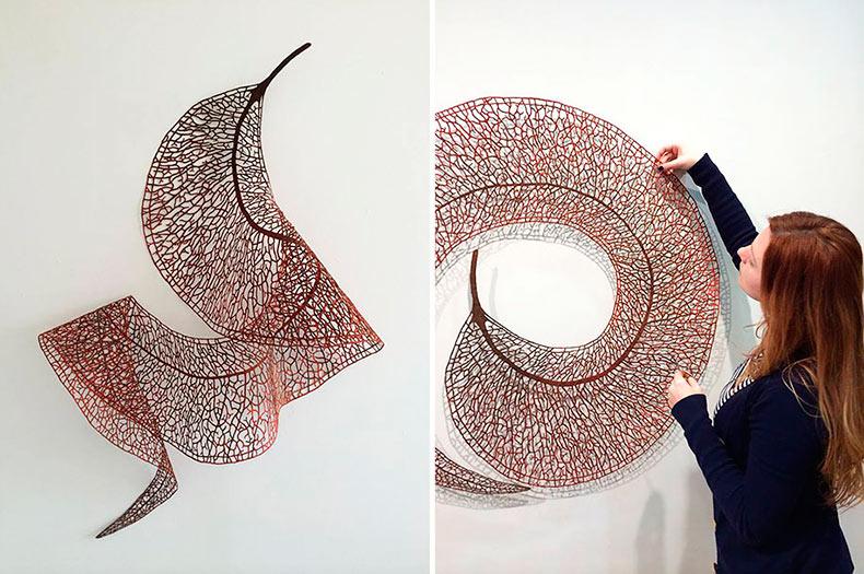 Delicadas esculturas de bordado imitan la fragilidad de la naturaleza