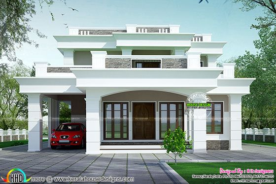 2813 sq ft flat roof box type home kerala home design - How much paint for 1800 sq ft exterior ...