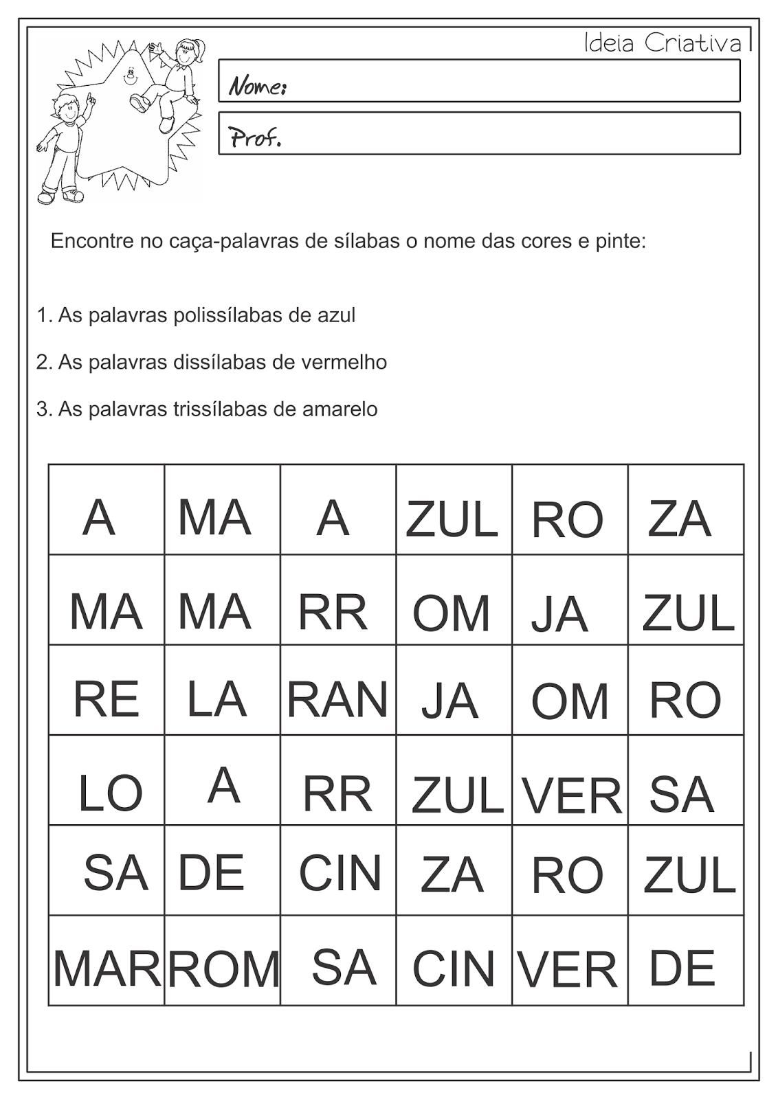 Atividade Educativa Língua Portuguesa Separação de Sílabas 3º ano