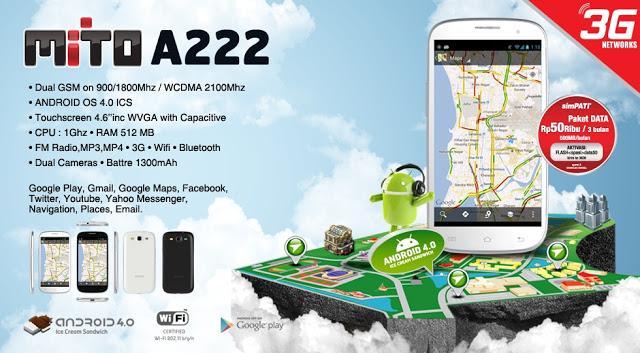Mito A222, Hp Android ICS,3g, 1GHz, Fitur Lengkap, Harga Murah 900 Ribuan