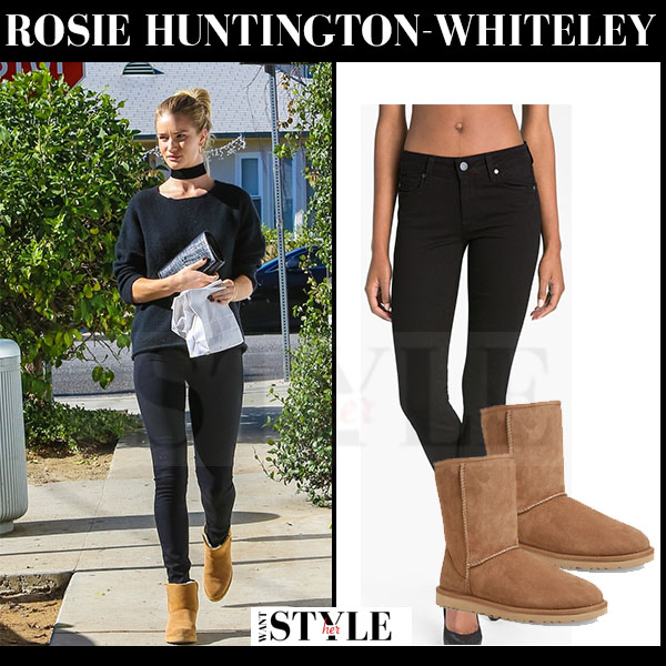 Rosie Huntington-Whiteley in black sweater, black skinny jeans and brown suede ugg ankle