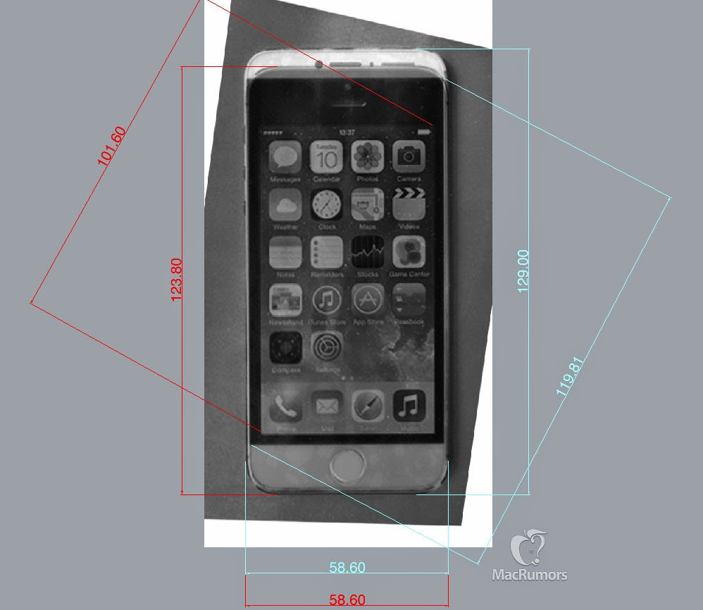 "iPhone 6 Dimensions: 2.3"" x 5.1"" with 4.7"" Diagonal Screen"
