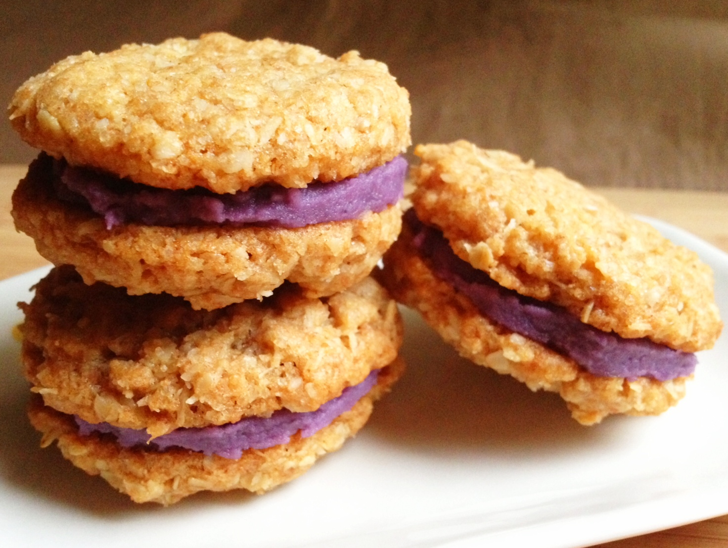 Wholly Vegan Oatmeal Coconut Ube Purple Yam Cookies