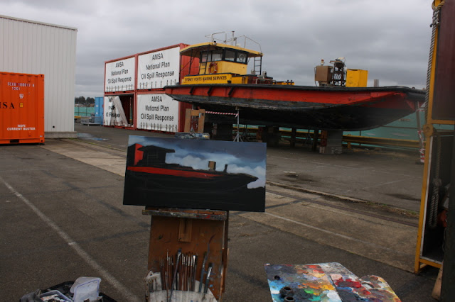 plein air oil painting of the 'Poolya' work boat at Glebe Island by artist Jane Bennett