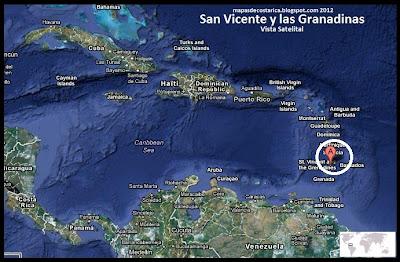 Mapa de San Vicente y las Granadinas en Centroamérica y El Caribe, Vista Satelital