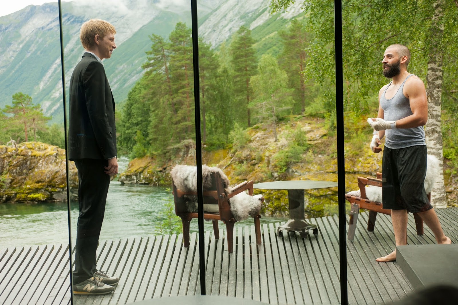 "Domhnall Gleeson and Oscar Isaac in Alex Garland's ""Ex Machina"""