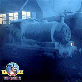 Thomas and friends Percy train engine Sodor wash down center people think he's a white ghost train