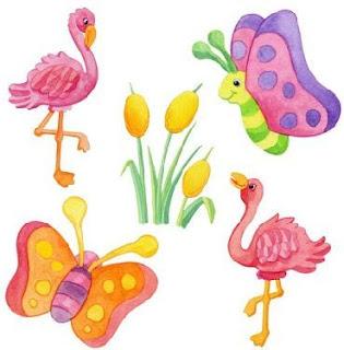 mariposas, flamencos en coloridos dibujos