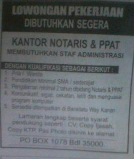 Lowongan Staff Admin Kantor Notaris & PPAT di Lampung
