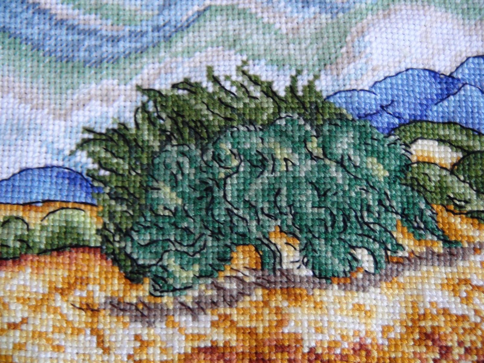 Вышивка пшеничное поле с кипарисами 18