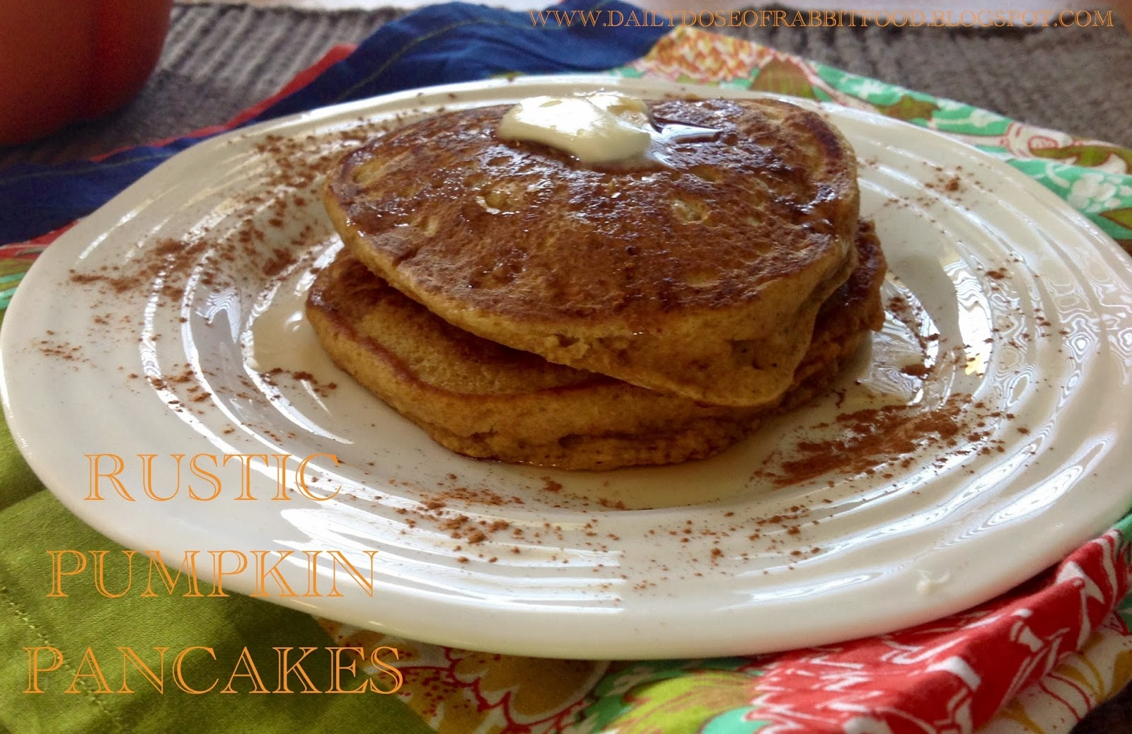 Pumpkin Pancakes made with half whole wheat flour and coconut oil