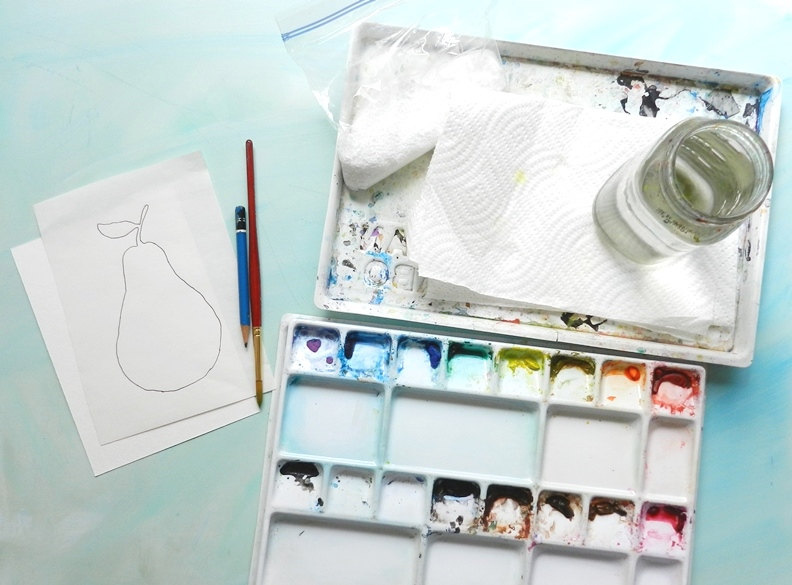 How to Paint Watercolor Fruit- Textured Pear Silhouette with free template: Grow Creative