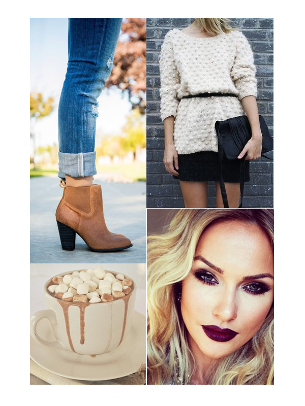 Ankle Boots; Hot Chocolate; Chunky Knits; Dark Lips