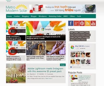 Modern Solar Premium Blogspot Templates