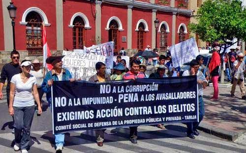 Tarija en estado de alerta contra posibles avasallamientos