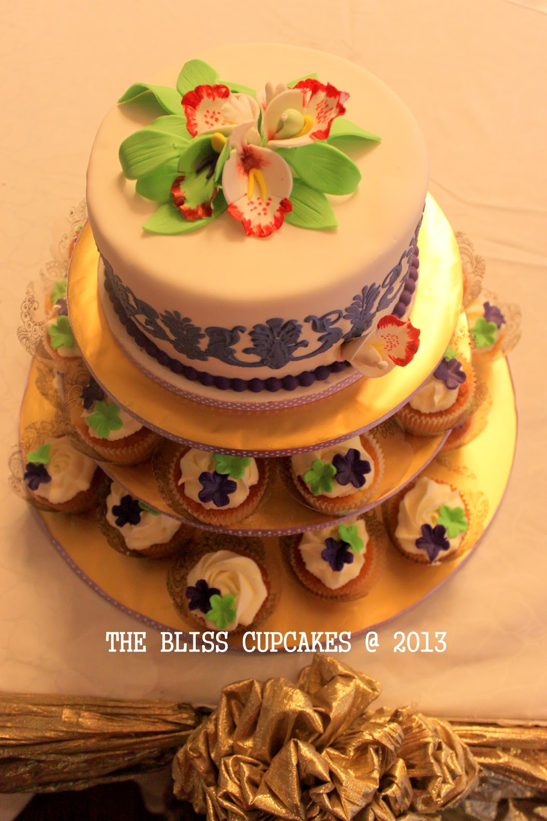 The Bliss Cupcakes Purple and Green Themed Wedding Cake